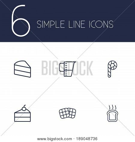Set Of 6 Pastry Outline Icons Set.Collection Of Measuring Cup, Waffle, Candy Cane Elements.