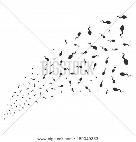 Spermatozoon source stream. Vector illustration style is flat gray iconic symbols on a white background. Object fireworks fountain created from random design elements.
