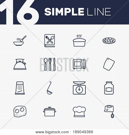 Set Of 16 Culinary Outline Icons Set.Collection Of Kettle, Omelette, Grater And Other Elements.