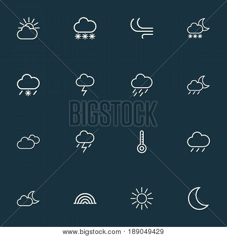 Climate Outline Icons Set. Collection Of Stormy, Drizzle, Cloud Sky And Other Elements. Also Includes Symbols Such As Thermostat, Rain, Stormy.