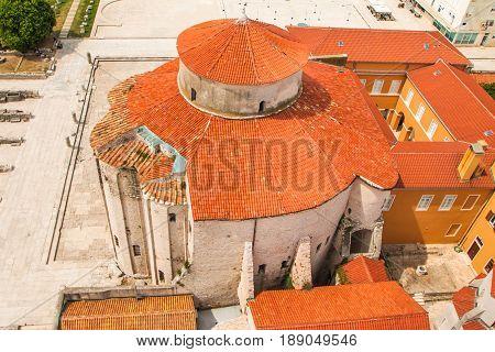 Red roof of Saint Donatus (Sveti Donat) church in Zadar, aerial view, Dalmatia, Croatia