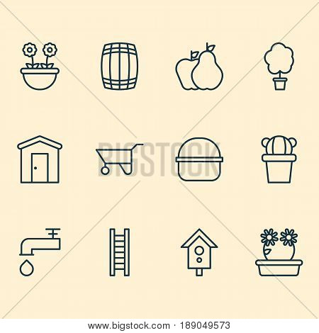 Gardening Icons Set. Collection Of Stairway, Fruits, Wheelbarrow And Other Elements. Also Includes Symbols Such As Spigot, Bundle, Floweret.