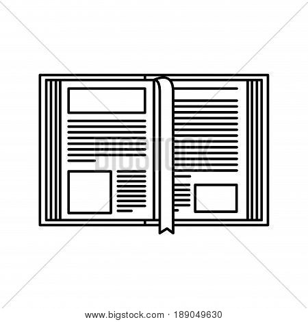 sketch silhouette image open book with bookmark vector illustration