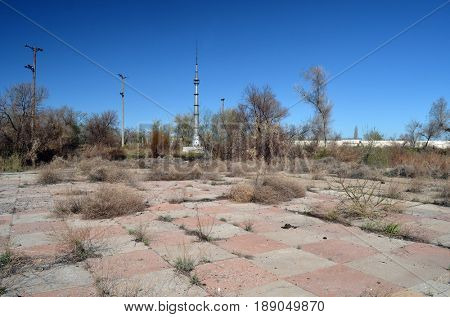 Abandoned Soviet military base in Central Asia. Dance floor in civilian residential area.