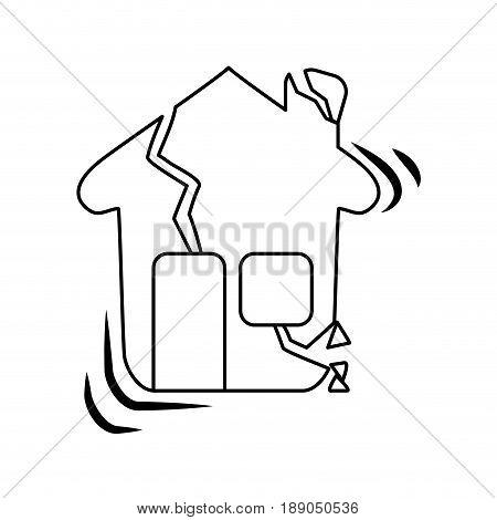 line house earthquake desaster and natural destrution vector illustration