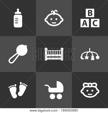 Set Of 9 Kid Icons Set.Collection Of Cot, Maraca, Abc Block And Other Elements.