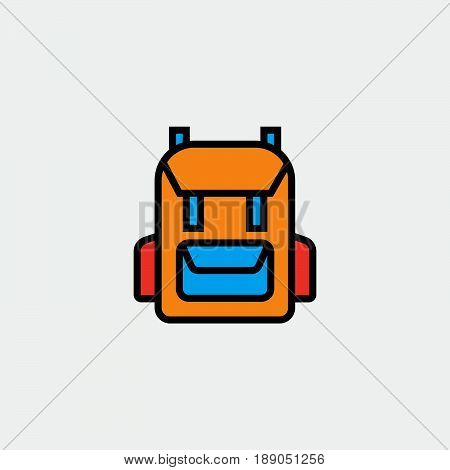 rucksack backpack icon vector isolated on grey .