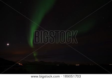 Northern Lights At Bremnes Near Harstad, Norway