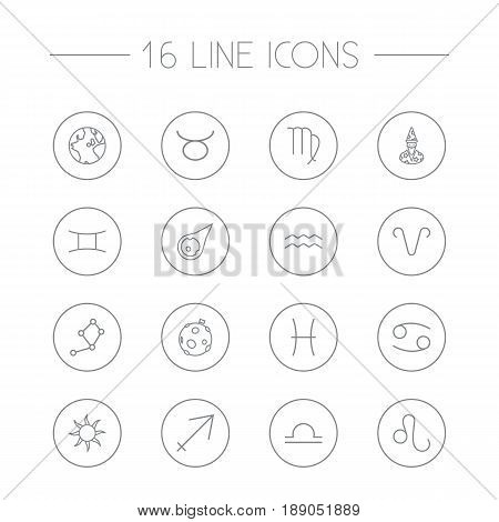 Set Of 16 Astronomy Outline Icons Set.Collection Of Aqurius, Libra, Cancer And Other Elements.