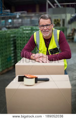 Portrait of factory worker with cardboard boxes on trolley in drinks production factory
