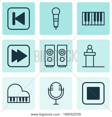 Audio Icons Set. Collection Of Run Song Back, Microphone, Following Song And Other Elements. Also Includes Symbols Such As Speakers, Box, Next.