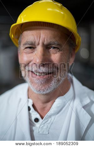 Portrait of smiling factory worker in factory