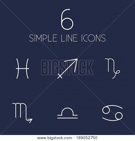Set Of 6 Horoscope Outline Icons Set.Collection Of Pisces, Libra, Cancer And Other Elements.