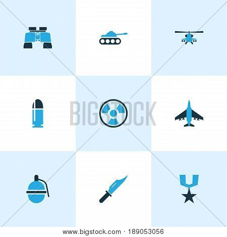Combat Colorful Icons Set. Collection Of Fighter, Binoculars, Helicopter And Other Elements. Also Includes Symbols Such As Bio, Tank, Rewand.