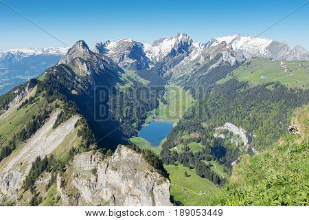 Panorama view of Alpstein mountain with lake of Ebenalp. Canton of St. Gallen Appenzell Switzerland