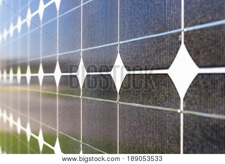 Photovoltaic panel for renewable electric production. Shallow deep of field.