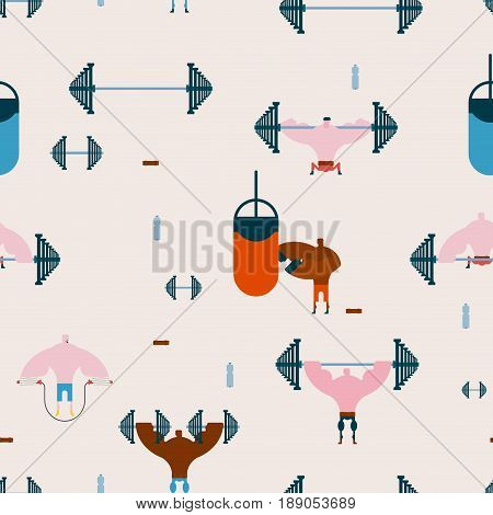 Gym Seamless Pattern. Athletic Hall Ornament. Fitness Background. Athlete And Barbell. Dumbbells And
