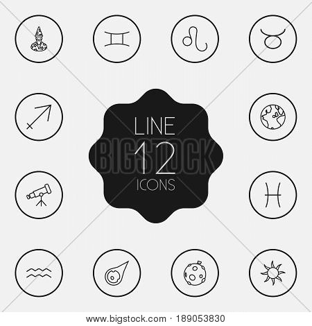 Set Of 12 Horoscope Outline Icons Set.Collection Of Asteroid, Aqurius, Pisces And Other Elements.