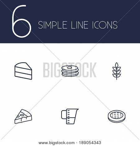 Set Of 6 Bakery Outline Icons Set.Collection Of Apple Pie, Pancakes, Cake And Other Elements.