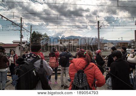 FUJIKAWAGUCHIKO, JAPAN - MARCH 27, 2016 : Mountain Fuji View from Kawaguchiko Station in Japan.