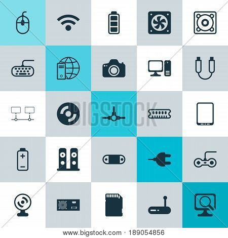 Hardware Icons Set. Collection Of Wireless, Power Generator, Computer Keypad And Other Elements. Also Includes Symbols Such As Fan, Desktop, Cd.