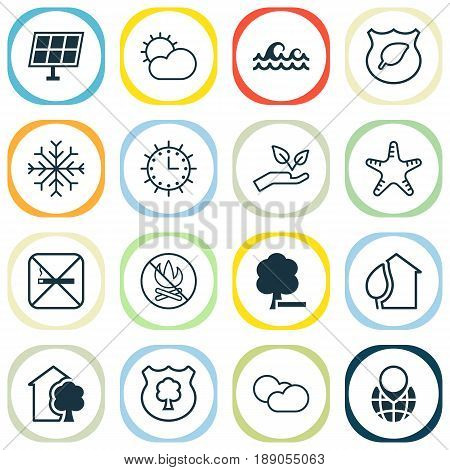 Eco-Friendly Icons Set. Collection Of Delete Woods, House, Clear Climate And Other Elements. Also Includes Symbols Such As Snowflake, Wave, Shield.