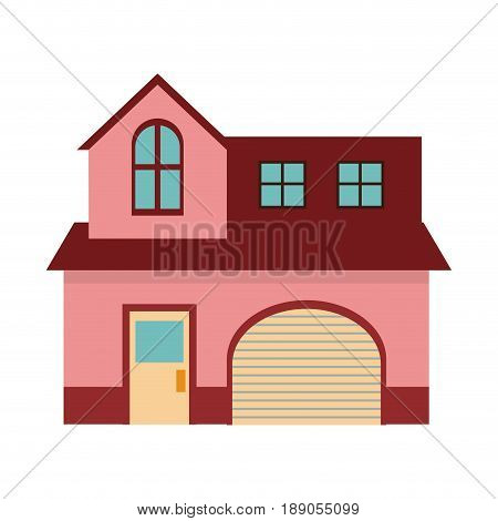 pink home garage facade structure two story vector illustration