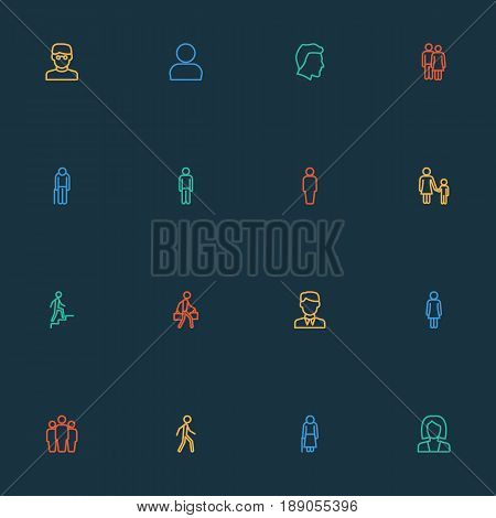 Human Outline Icons Set. Collection Of Graybeard, Couple, Team And Other Elements. Also Includes Symbols Such As Company, Jogging, Married.