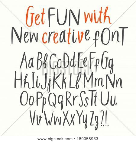 Hand drawn creative cutout style vector ABC letters set. Upper and lower case. Doodle comic font for your design.