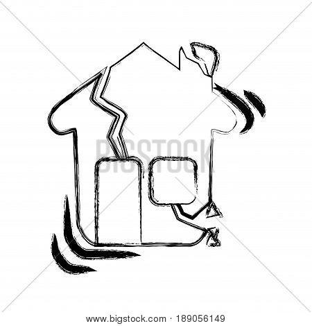 figure house earthquake desaster and natural destrution vector illustration