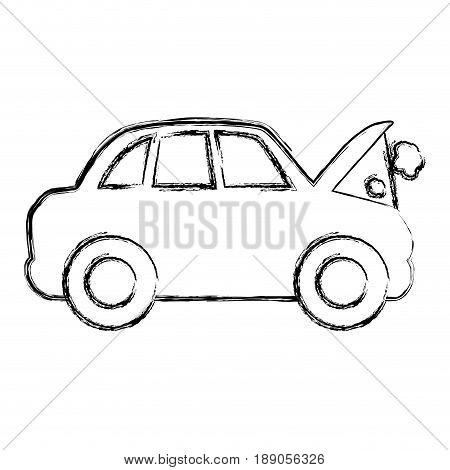 figure car burnt engine and dangerous diagnostic vector illustration