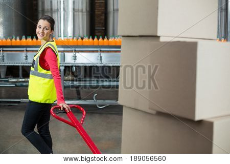 Portrait of female factory worker holding trolley of cardboard boxes at drinks production factory