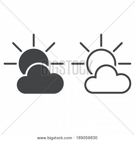 Partially Sunny weather Icon. solid and outline