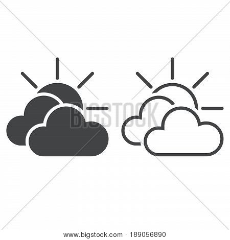 Mostly Cloudy Weather Icon. Solid And Outline