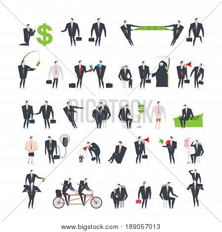 Office Life Set Corporate. Managers In Workplace. Business Situation. Boss And Subordinate Relations