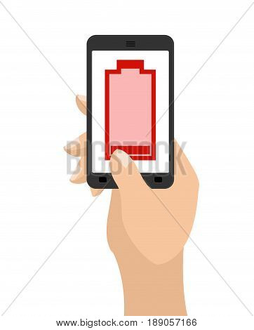 Empty Battery Life Of Smartphone. Red Accumulator. Hand Hold Phone