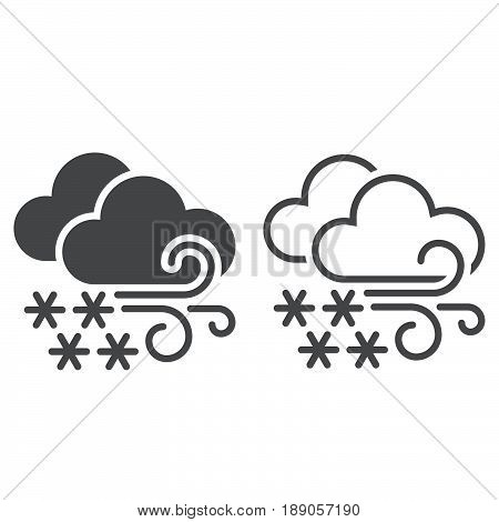 Blizzard weather icon. solid and outline isolated on white