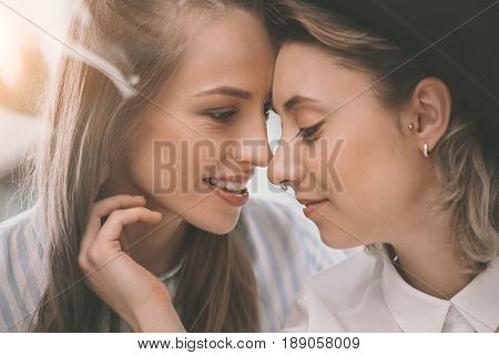 Portrait Of Beautiful Tender Homosexual Couple Embracing And Smiling