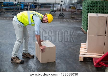 Portrait of factory worker picking up cardboard boxes in factory