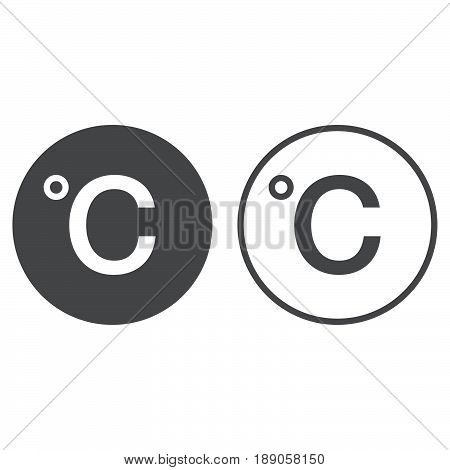 Degree sign celsius icon. solid and outline