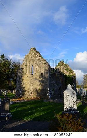 Stone ruins of Adare monastery in Ireland.