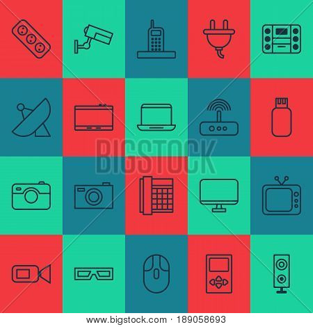 Gadget Icons Set. Collection Of Work Phone, Antenna, Digital Camera And Other Elements. Also Includes Symbols Such As Mouse, Megaphone, Drive.