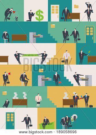 Office Life Pattern. Corporate Background. Managers In Workplace. Business Situation. Boss And Subor