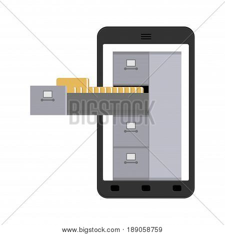 File Cabinet In Smartphone. Iron Box For Documents. Order In File System