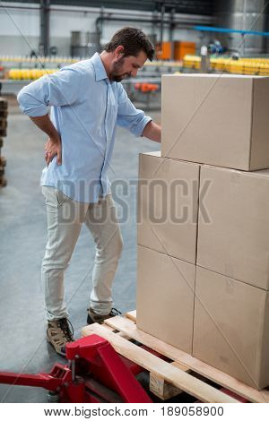 Tensed male worker standing with back pain in factory