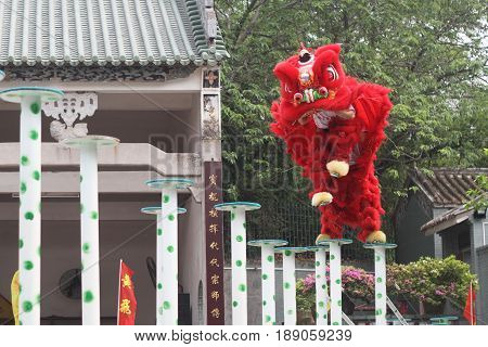 Red chinese Traditional lion dancing performance in new year celebration festival at Chinatown