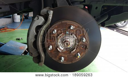 close-up rust on disc brake system of car