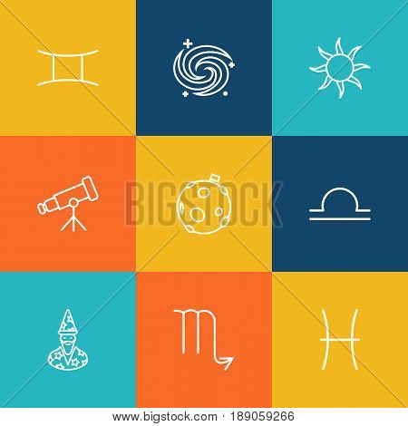 Set Of 9 Astronomy Outline Icons Set.Collection Of Pisces, Galaxy, Scorpion And Other Elements.