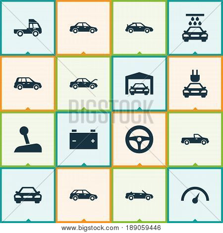 Automobile Icons Set. Collection Of Convertible Model, Automobile, Repairing And Other Elements. Also Includes Symbols Such As Battery, Automobile, Garage.