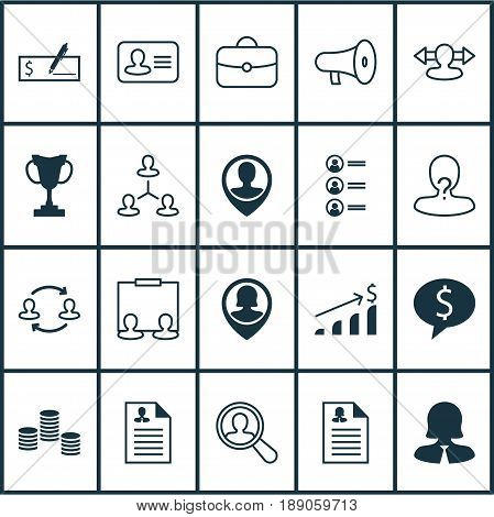 Management Icons Set. Collection Of Female Application, Pin Employee, Publicity And Other Elements. Also Includes Symbols Such As Dollar, Female, Reverse.
